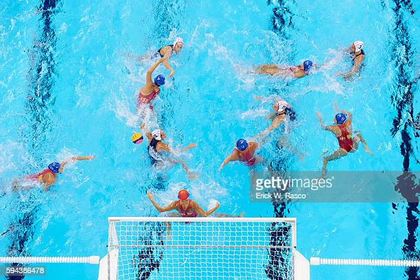 2016 Summer Olympics Aerial view of Spain in action vs China during the Women's Water Polo Semfinals at the Olympic Aquatics Stadium Rio De Janeiro...