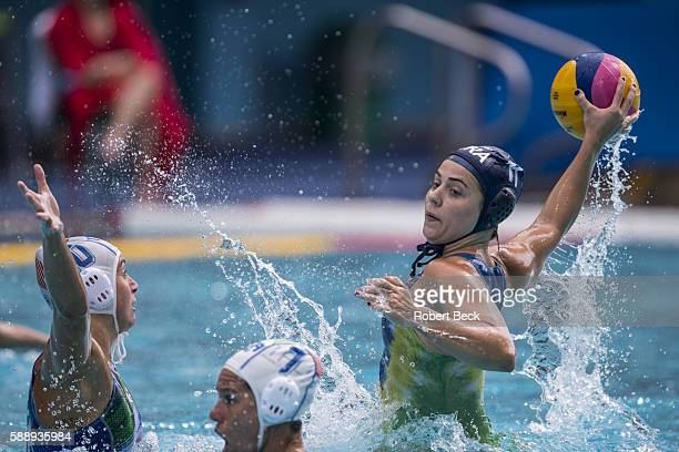 2016 Summer Olympics Brazil Brazil Mariana Duarte 11] in action vs Italy during Women's Preliminary Round Group A match at Olympic Aquatics Centre...