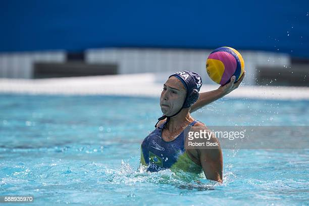 2016 Summer Olympics Brazil Marina Zablith in action vs Italy during Women's Preliminary Round Group A match at Olympic Aquatics Centre Rio de...