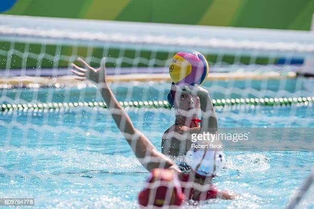 2016 Summer Olympics Spain Beatriz Ortiz Munoz in action vs USA during Women's Preliminary Round Group B match at Olympic Aquatics Centre Rio de...