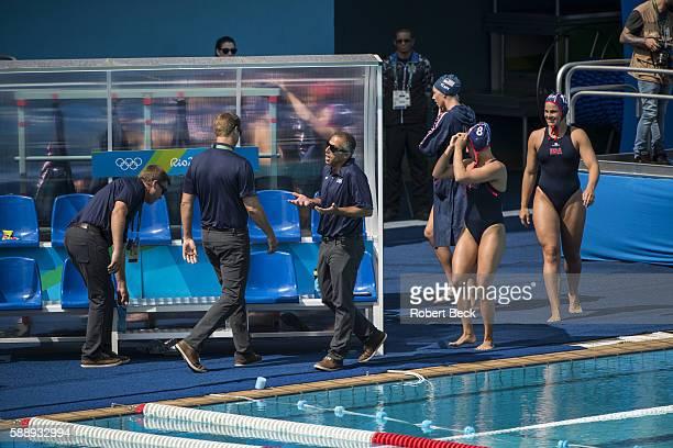 2016 Summer Olympics USA team poolside before match vs Spain during Women's Preliminary Round Group B match at Olympic Aquatics Centre Rio de Janeiro...