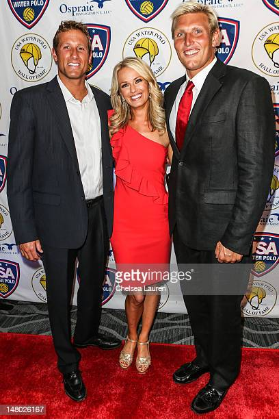 USA water polo athlete Peter Varellas television personality Brooke Anderson and USA water polo athlete Jesse Smith arrive at the US Olympic water...