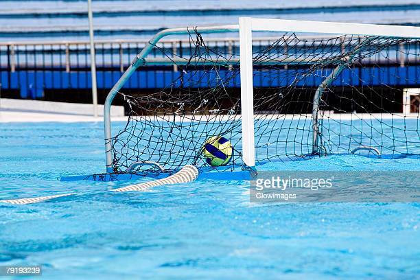 Water polo ball inside the goal