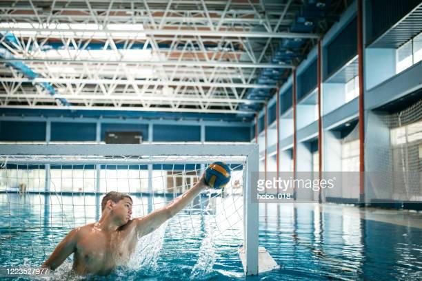 waterpolo goalie - head coach stockfoto's en -beelden