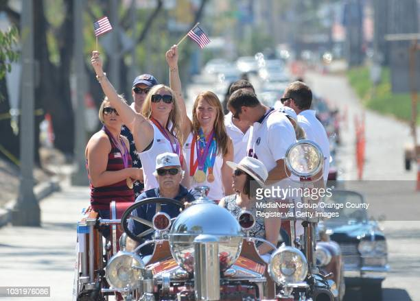 BEACH CALIF USA Water polo Olympians including Lauren Wenger and Heather Petri during parade honoring Long Beach Olympians in Belmont Shore on...