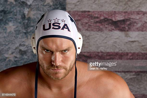 Water polo player John Mann poses for a portrait at the 2016 Team USA Media Summit at The Beverly Hilton Hotel on March 9 2016 in Beverly Hills...