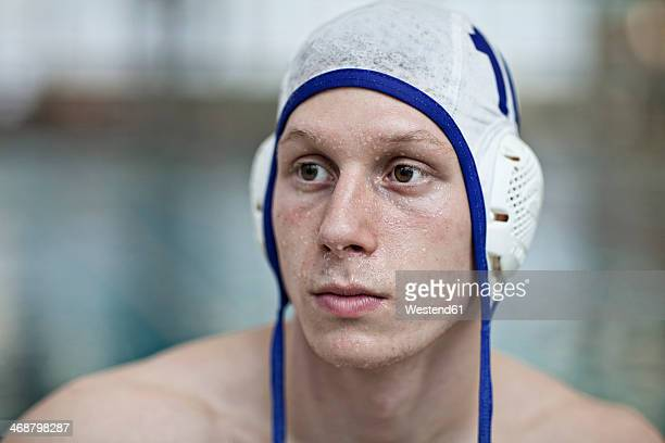 Water polo player outside pool