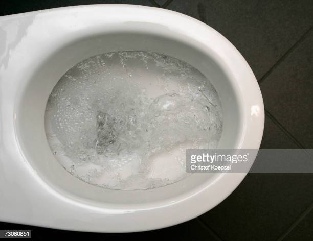 Water pours down the toilet on January 10 2007 in Schwelm Germany