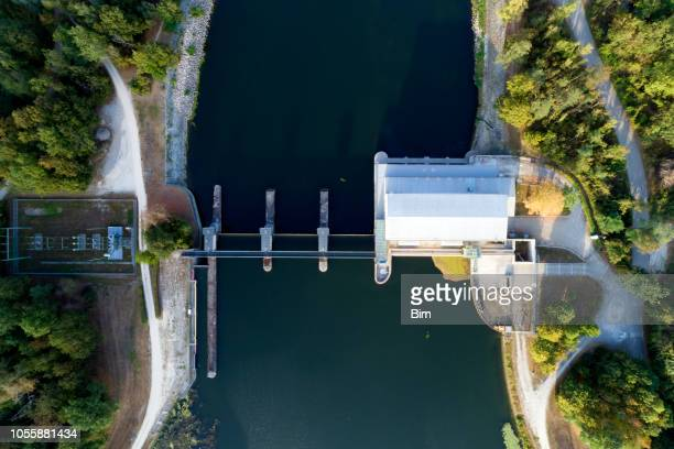 water power plant, aerial view - hydroelectric power stock pictures, royalty-free photos & images