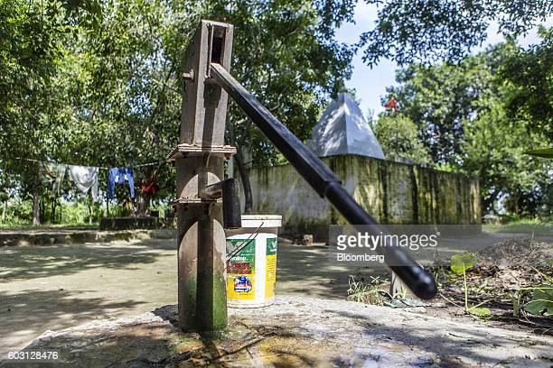 A water pump stands outside a Hindu temple where a Hindu priest attacked a farmer and his daughter not pictured in Sambhal Uttar Pradesh India on...