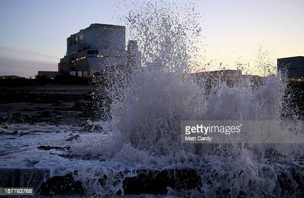Water pumped out from the Electricite de France SA's Hinkley Point B nuclear power stations sprays up as it meets the Bristol Channel near Bridgwater...