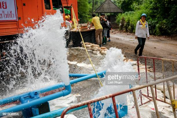 Water pumping site at the entrance of Tham Luang Nang Non cave on July 05 2018 in Chiang Rai Thailand The 12 boys and their soccer coach have been...