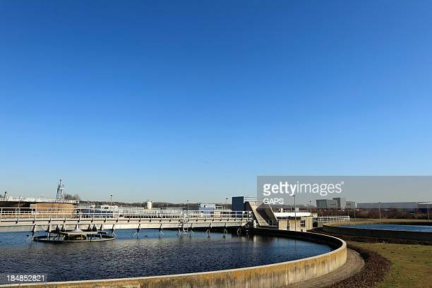 water purification plan on sunny day - sewer stock pictures, royalty-free photos & images