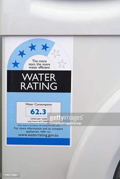 Water rating label on modern washing machine Australia
