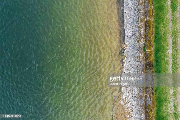 water reservoir from above - meeroever stockfoto's en -beelden