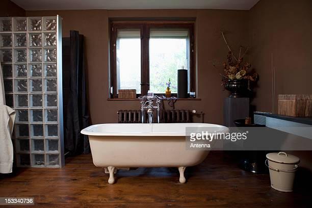 water running into a claw foot bathtub - land brandenburg stock-fotos und bilder