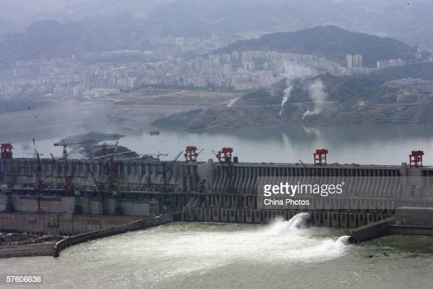 Water rush out of Three Gorges Dam on the Yangtze River on May 13, 2006 in Yichang of Hubei Province, China. Construction of China's Three Gorges...