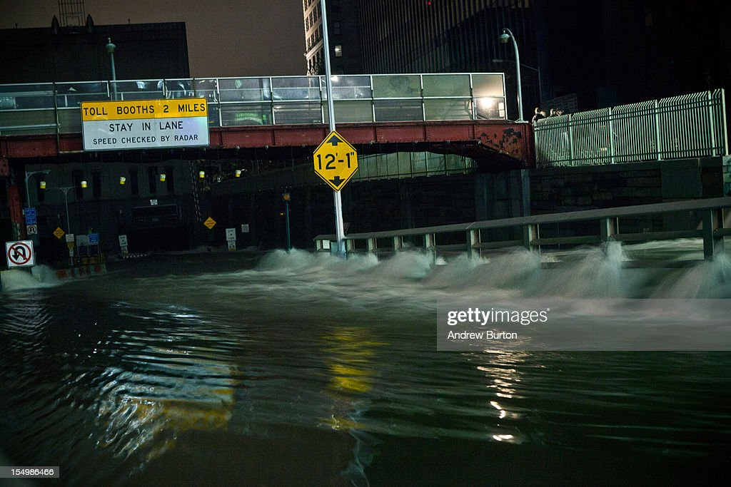 Water rushes into the Carey Tunnel (previously the Brooklyn Battery Tunnel), caused by Hurricane Sandy, October 29, 2012, in the Financial District of New York, United States. Hurricane Sandy, which threatens 50 million people in the eastern third of the U.S., is expected to bring days of rain, high winds and possibly heavy snow. New York Governor Andrew Cuomo announced the closure of all New York City will bus, subway and commuter rail service as of Sunday evening.