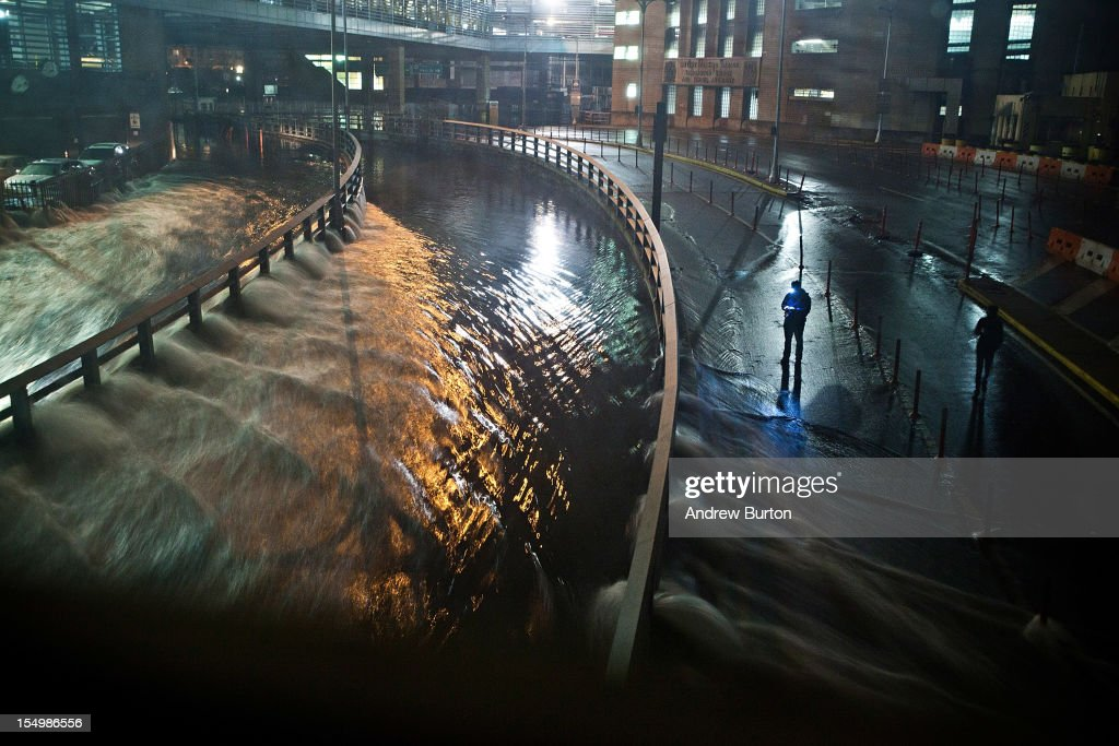 Water rushes into the Carey Tunnel (previously the Brooklyn Battery Tunnel), caused by Hurricane Sandy, October 29, 2012, in the Financial District of New York, United States. Hurricane Sandy, which threatens 50 million people in the eastern third of the U.S., is expected to bring days of rain, high winds and possibly heavy snow. New York Governor Andrew Cuomo announced the closure of all New York City will bus, subway and commuter rail service as of Sunday evening