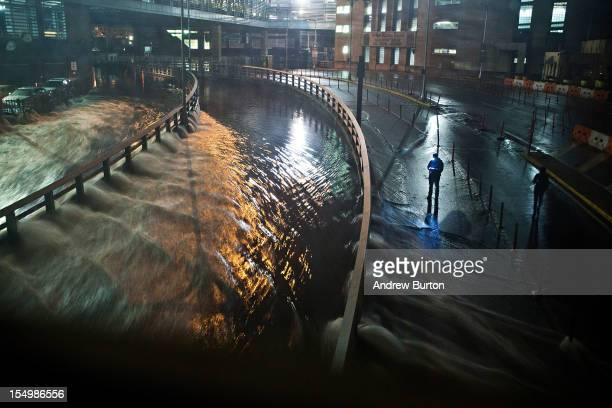 Water rushes into the Carey Tunnel caused by Hurricane Sandy October 29 in the Financial District of New York United States Hurricane Sandy which...