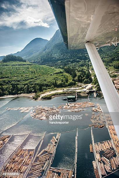 Water seaplane flying over the vancouver landscape