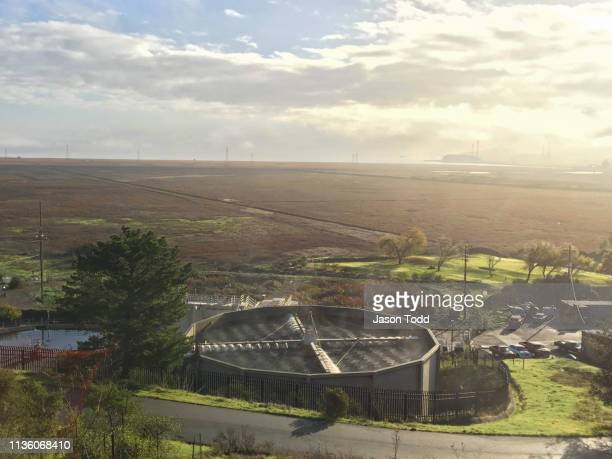 water sewage treatment facility plant and san pablo bay area - san rafael california stock pictures, royalty-free photos & images