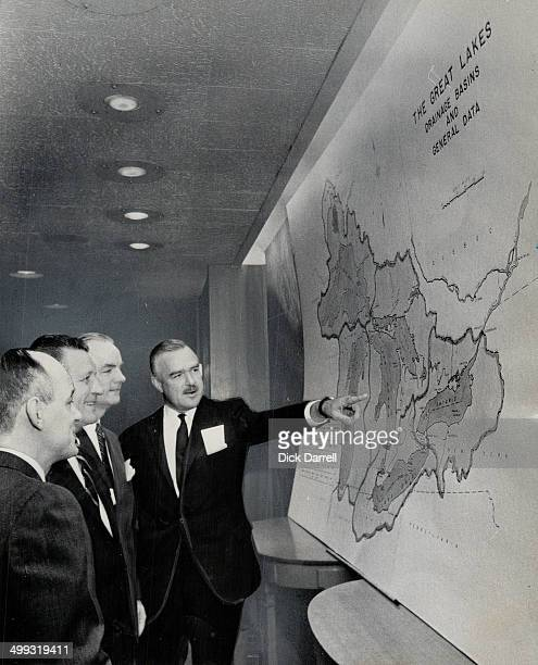 Water shortage sparks conference Ontario's Premier John Robarts points to map of Great Lakes at the conference of Ontario Quebec and eight states...