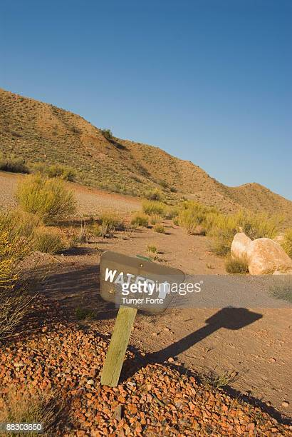Water sign in desert