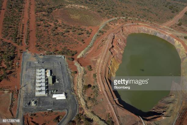 Water sits in a dam at Northern Star Resources Ltd's Kalgoorlie Operations in this aerial photograph taken near Kalgoorlie Australia on Sunday Aug 6...