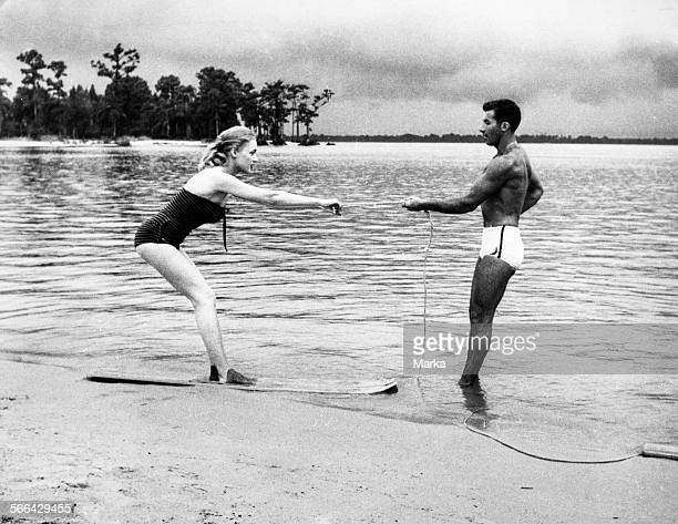 Water Ski Lesson On The Beach 1957