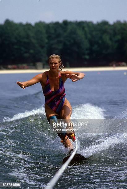 Portrait of Women's champion Camille Duvall in action during photo shoot on beach. Windermere, FL 7/14/1985 CREDIT: Heinz Kluetmeier