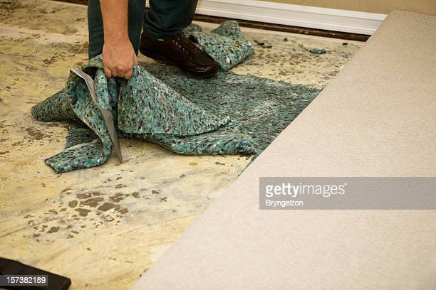 water soaked carpet pad - flooding stock photos and pictures