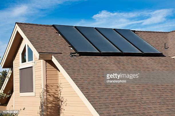 water solar panels, home, exterior - solar mirror stock pictures, royalty-free photos & images