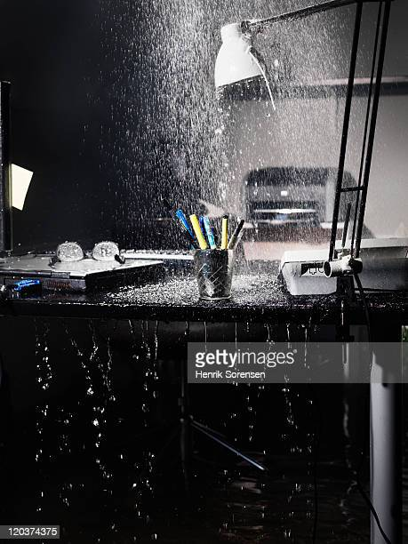 water spilling down on office table - isolated color stock pictures, royalty-free photos & images