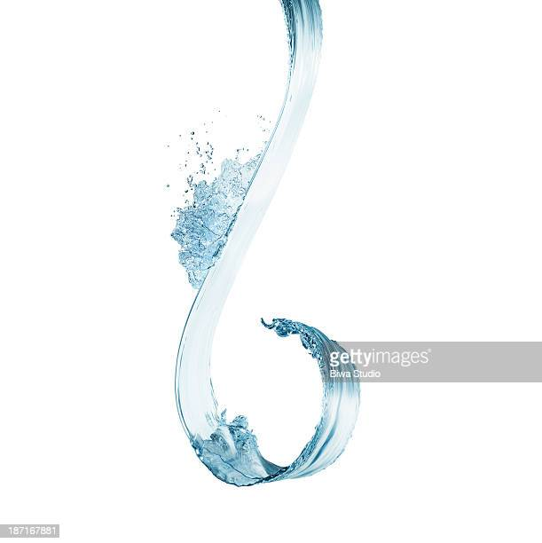 Water splash in midair on white background