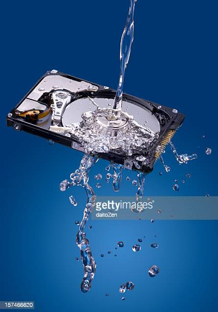 Water splash on hard disk