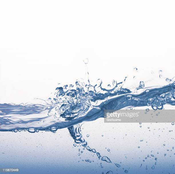 Water splash with blue bubbles isolated on white