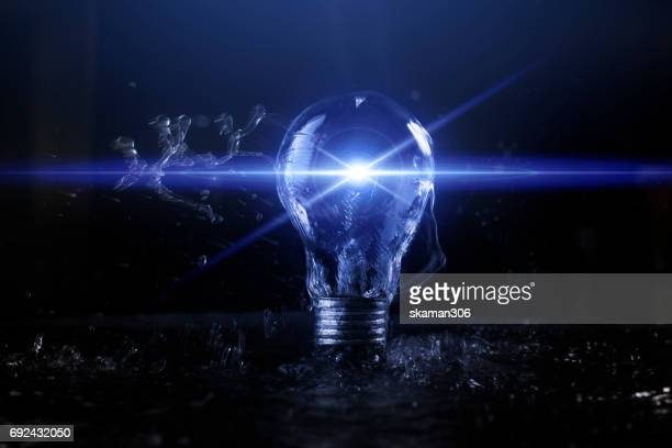 water splash with Light bulb and soft flare darken background with Creative concept and technology