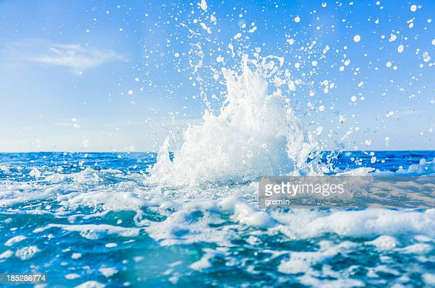 Water splashes at sea