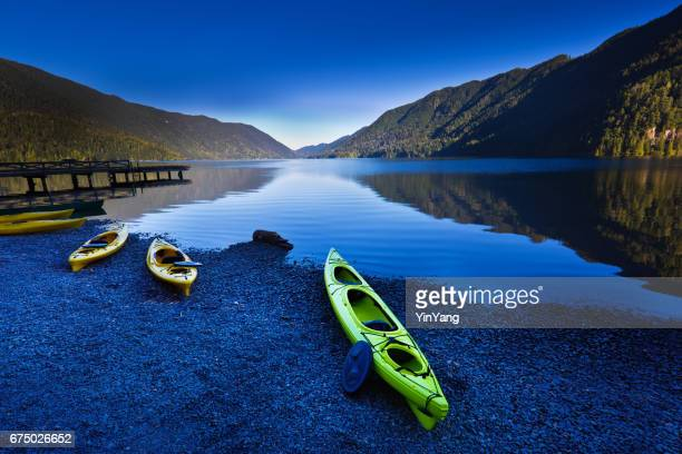 Water sport Kayaks Canoes at Lake Crescent Olympic National Park, Washington State
