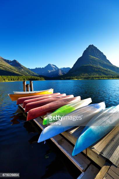 Water Sport Kayaks, Canoes at Many Glacier at Glacier National Park, Montana USA