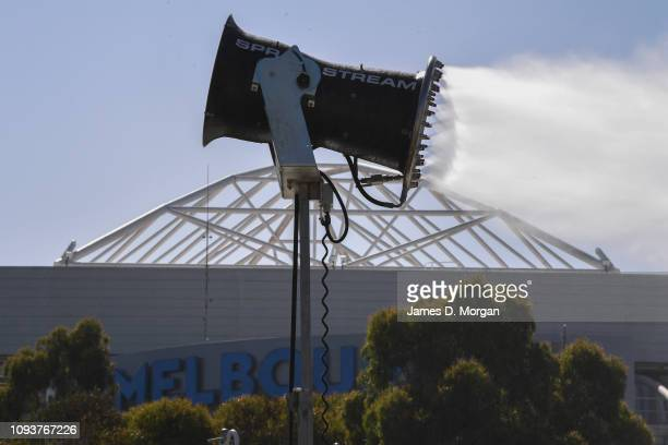 Water spraying fans cool spectators down during day one of the 2019 Australian Open at Melbourne Park on January 14, 2019 in Melbourne, Australia....