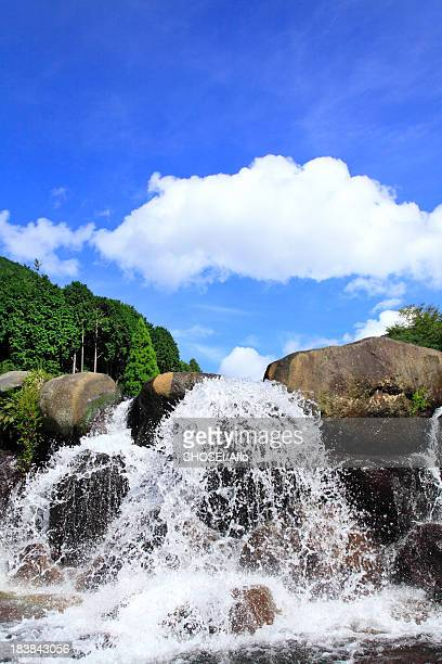 Water stream and blue sky with clouds