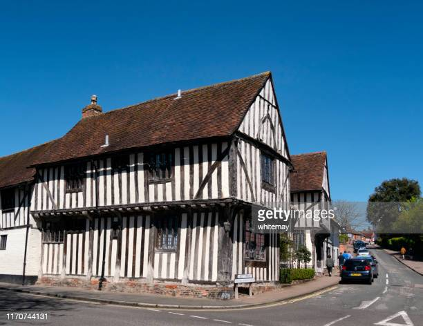 water street and lady lane in lavenham, suffolk - lavenham stock photos and pictures