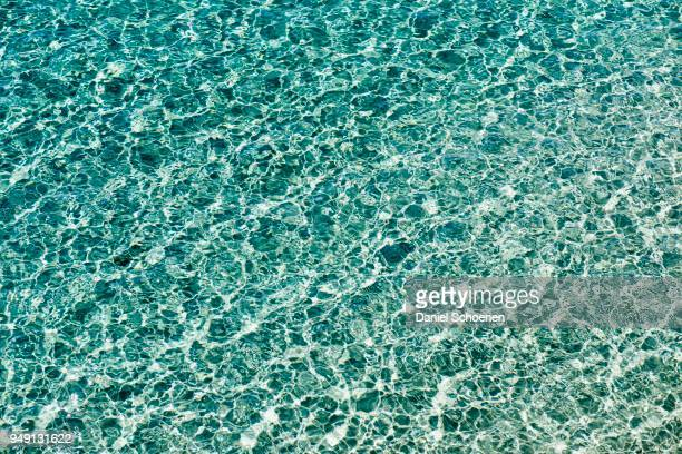 Water surface with small waves and clear water, Mediterranean Sea, Cote d Azur, South of France, France