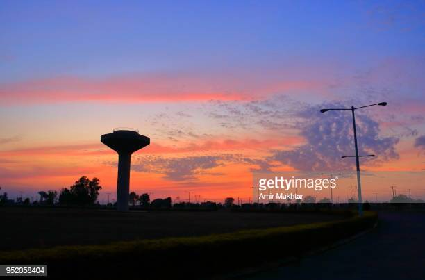 Water Tank and Sunset