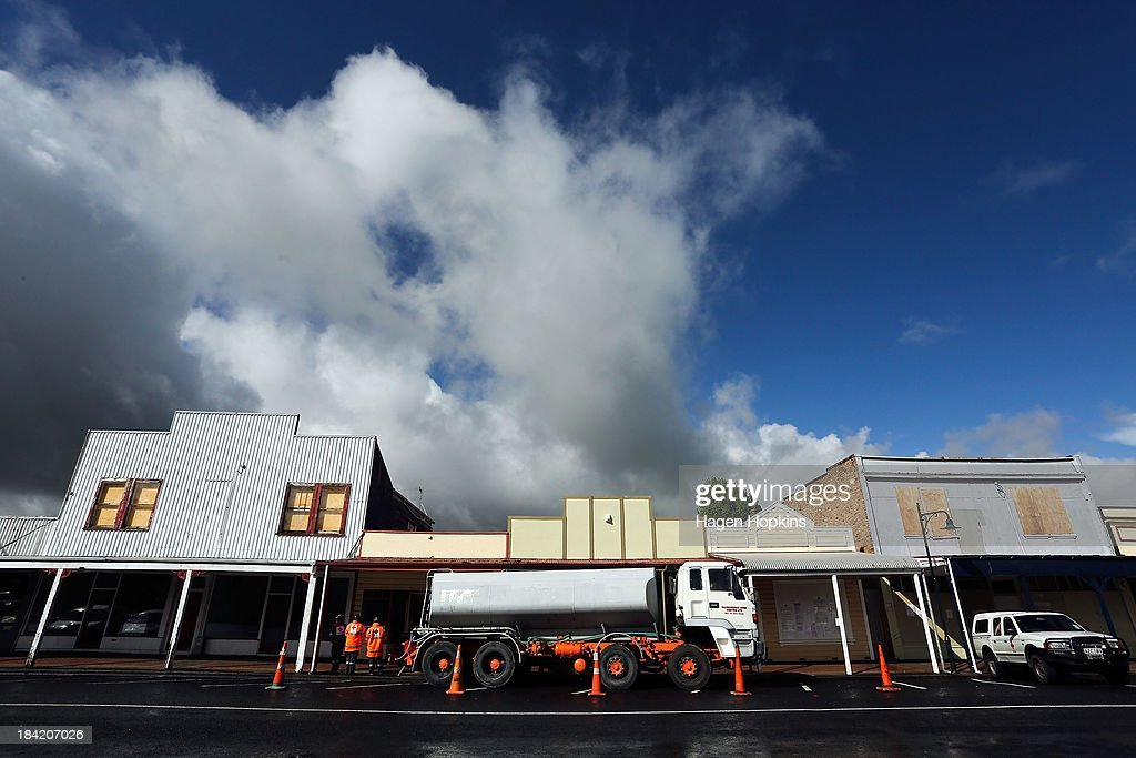 A water tanker is parked on the main street of Raetihi to supply fresh water to residents on October 12, 2013 in Raetihi, New Zealand. Work has begun to flush a stream contaminated by a large diesel spill at Tongariro National Park. A tank from the Turoa Ski Field has leaked 15,000 litres of diesel into the Makotuku stream.