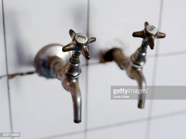Water taps close-up
