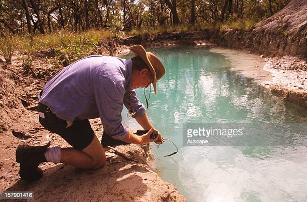 measuring conductivity and pH of groundwater at proposed construction site Australia