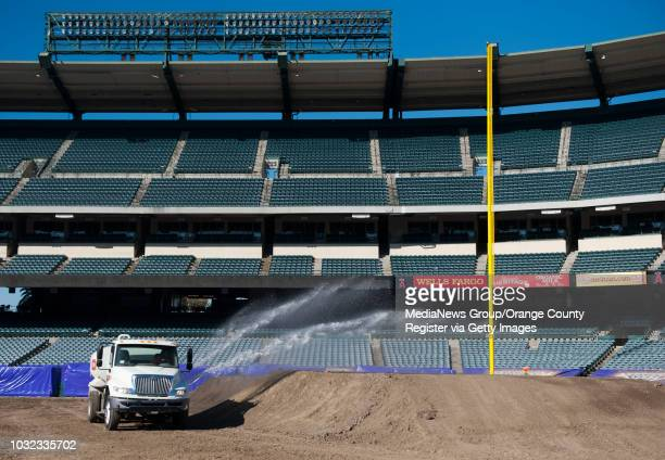 A water truck helps keep the dust down at Angel Stadium Friday INFO MonsterJam0130kjs Photo by KEVIN SULLIVAN / Orange County Register 1/29/16